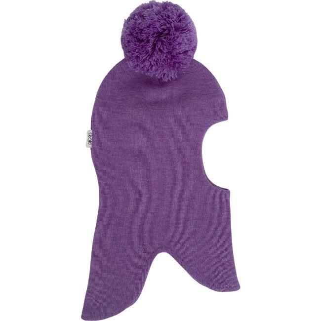 Knit Balaclava with Pom, Lilac - Hats - 1