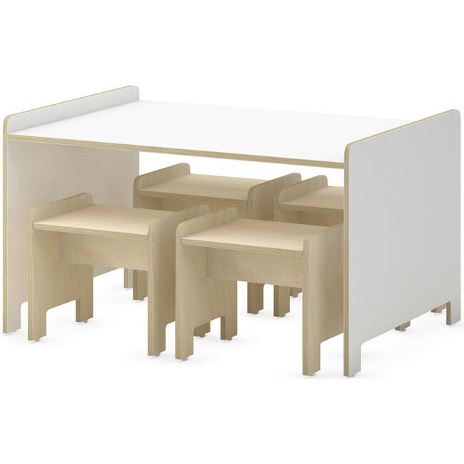 Juno Playtable And Stools Set, White - Play Tables - 1