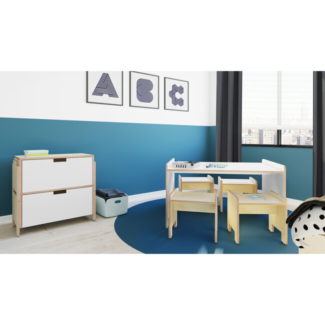 Juno Playtable And Stools Set, White
