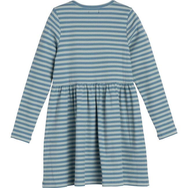 Marley Ribbed Long Sleeve Jersey Dress, Sage & Blue