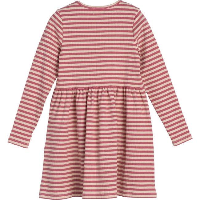 Marley Ribbed Long Sleeve Jersey Dress, Dusty Rose & Cream