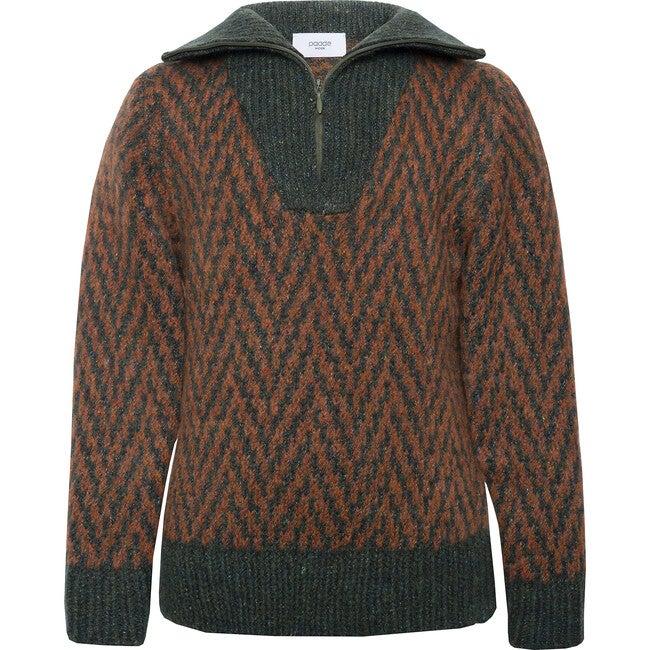 Wool Zipped Sweater Pine Green, Brown - Sweaters - 1