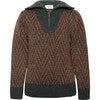 Wool Zipped Sweater Pine Green, Brown - Sweaters - 1 - thumbnail