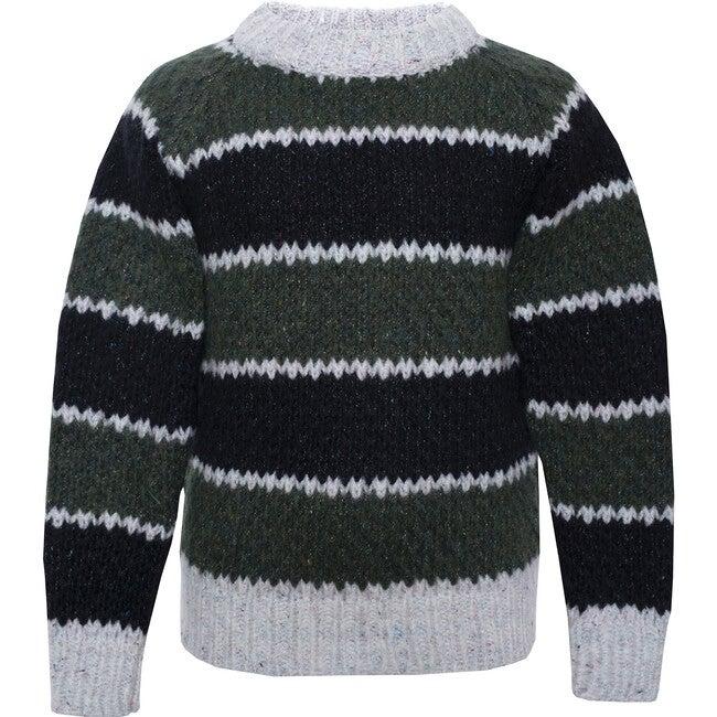 Wool Sweater Striped Green, Black