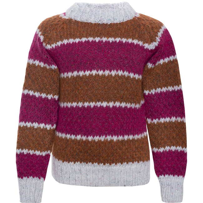 Wool Sweater Striped Brown, Pink