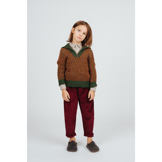 Wool Zipped Sweater Pine Green, Brown