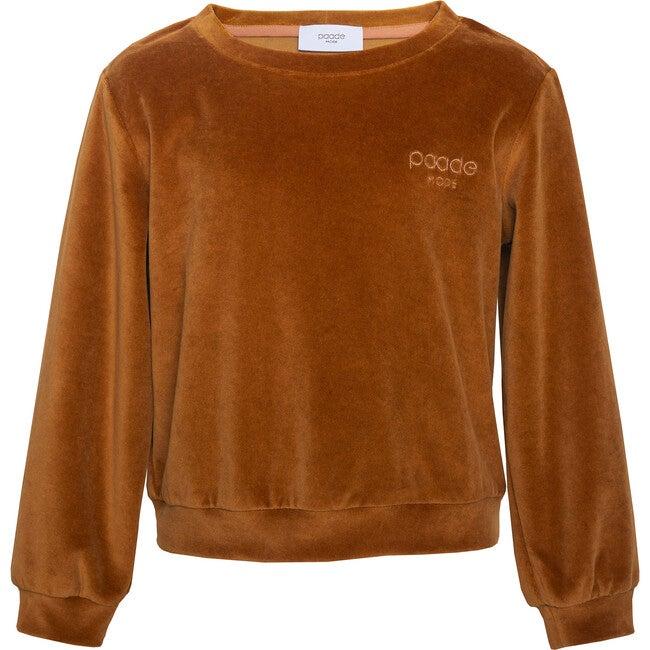 Velvet Logo Sweatshirt, Brown
