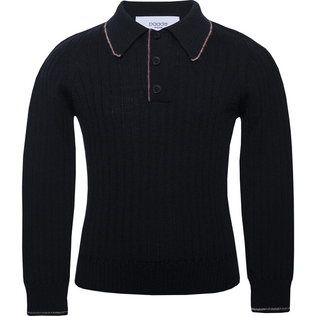 Seamless Knit Polo, Black