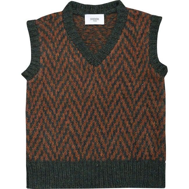 Wool Vest Pine Green, Brown