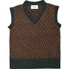 Wool Vest Pine Green, Brown - Vests - 1 - thumbnail