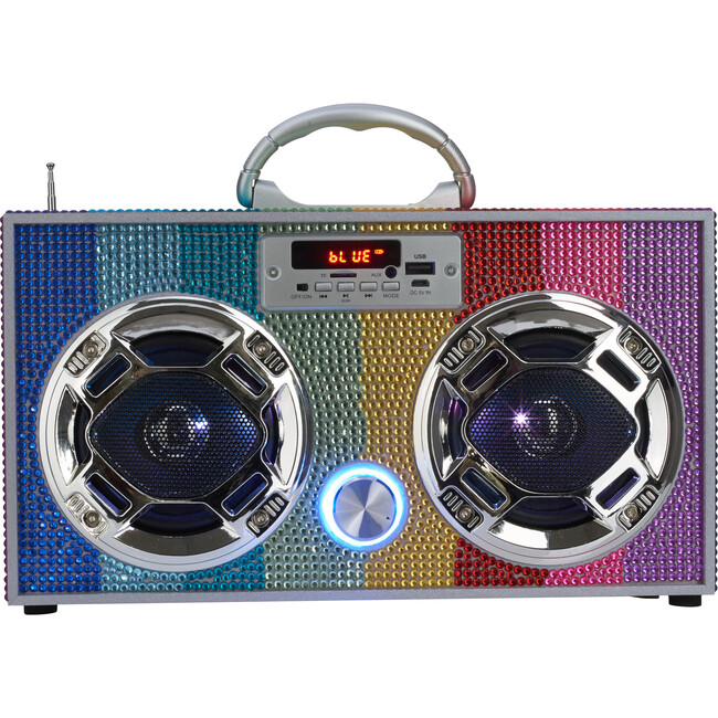 Bluetooth Mini Boombox, Rainbow Bling