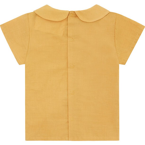 Organic Woven Short Sleeve Collared Shirt, Mustard Yellow
