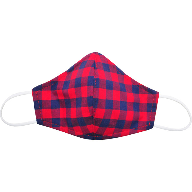 Cotton Face Mask, Red Navy Check
