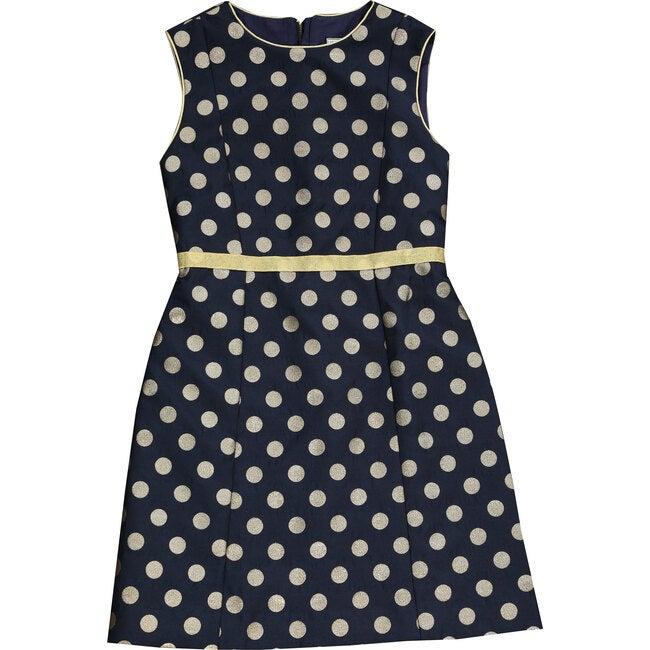 Victoria A Line Shift Dress, Navy Gold Dot