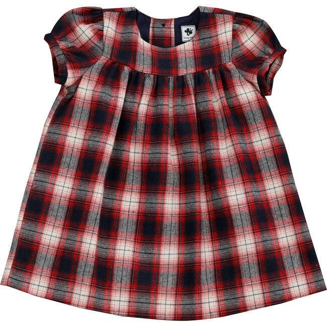 Matilda Puff Sleeve Dress, Red Plaid
