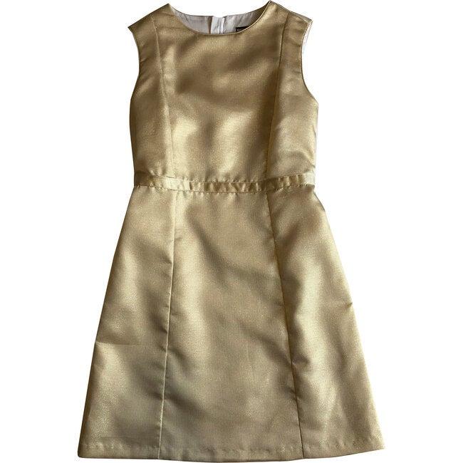 Victoria Tween A Line Shift Dress, Gold Shimmer