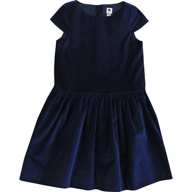 Alexa Velvet Drop Waist Dress, Navy