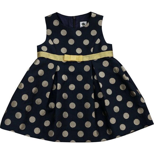 Gemma Party Dress, Navy Gold Dot