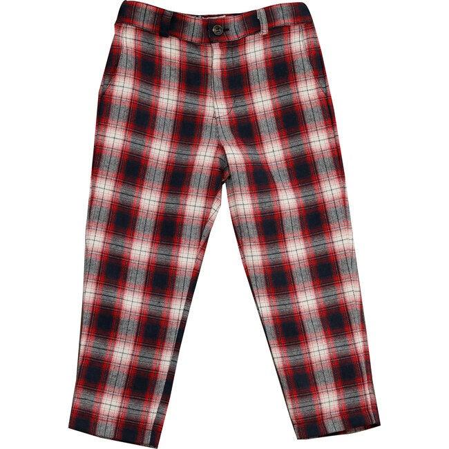 Alex Flat Front Pant, Red Plaid