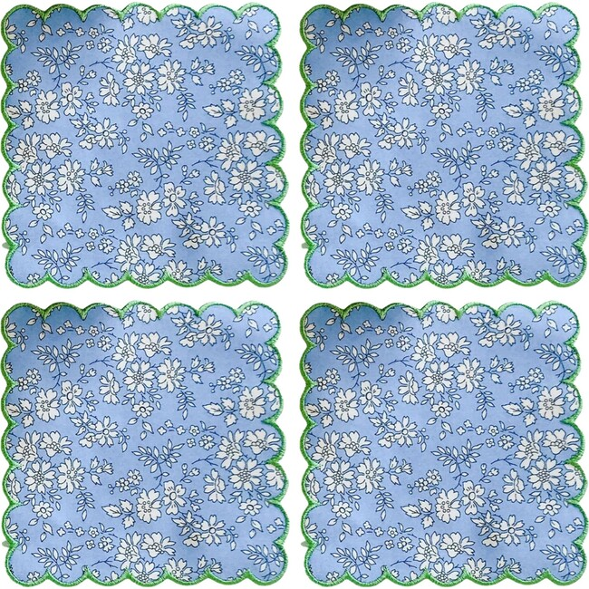 Set of 4 Liberty Cocktail Napkins, Capel with Turf Trim