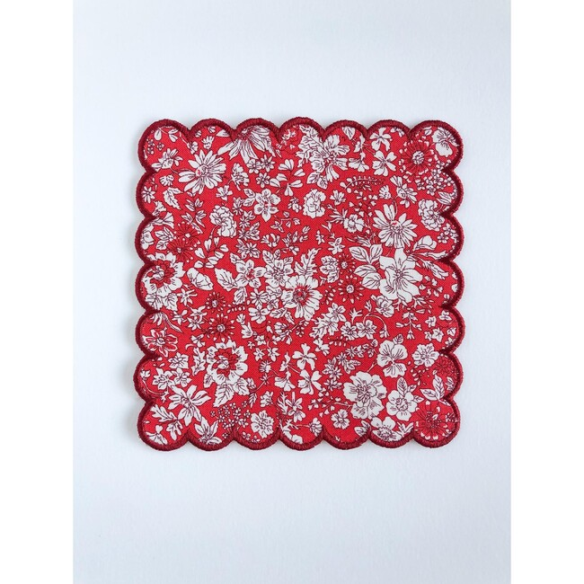 Set of 4 Cockail Napkins, Holiday Floral with Crimson Trim