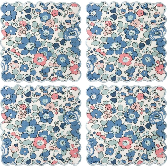 Set of 4 Liberty Cocktail Napkins, Betsy Blue with Baby Blue Trim