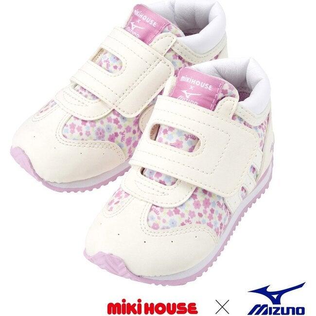 Miki House & Mizuno Second Shoes, White Floral