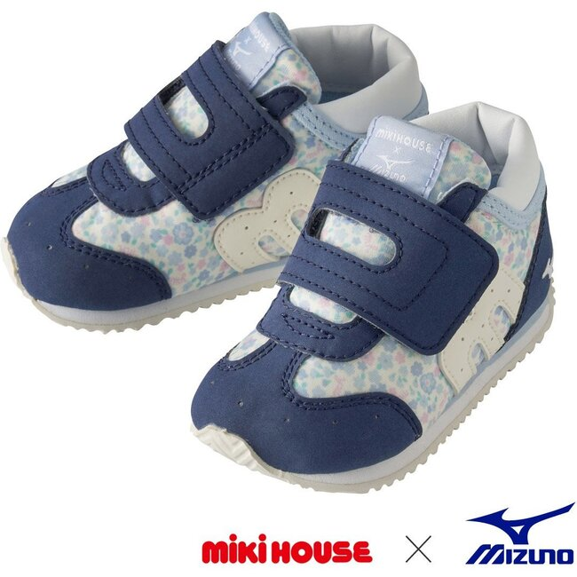 Miki House & Mizuno Second Shoes, Navy Floral