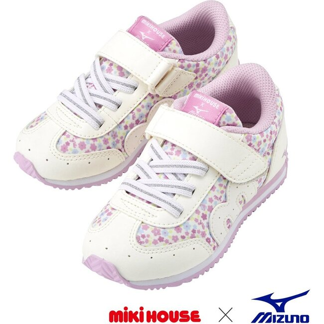 Miki House & Mizuno Kids Shoes, Floral White
