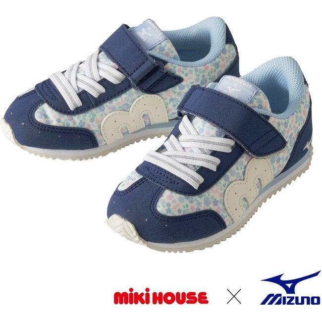 Miki House & Mizuno Kids Shoes, Floral Navy