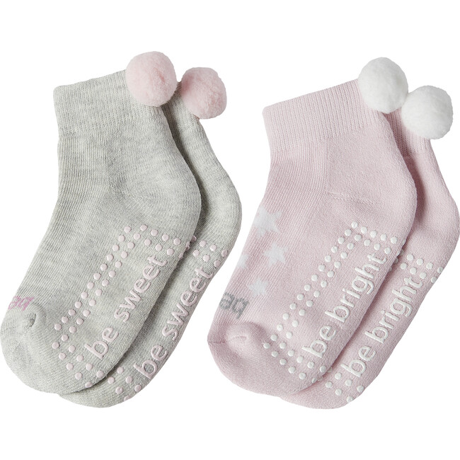 Maddie Girls 2 Pack Pom Pom Grip Socks