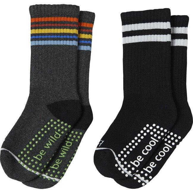 Ian Boys 2 Pack Grip Crew Socks