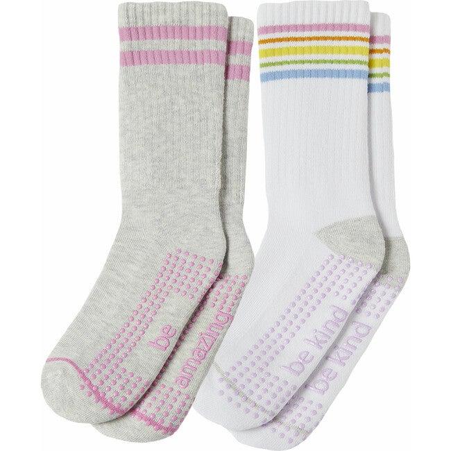 Brynn Girls 2 Pack Grip Crew Socks