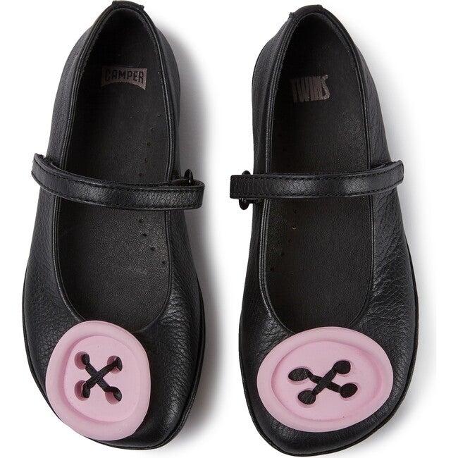 Girls TWS Leather Ballerina, Black - Sandals - 1