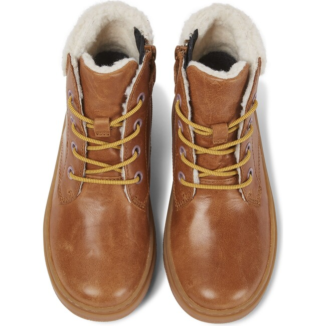Girls Kido Leather Lace Up Boot, Brown - Boots - 1