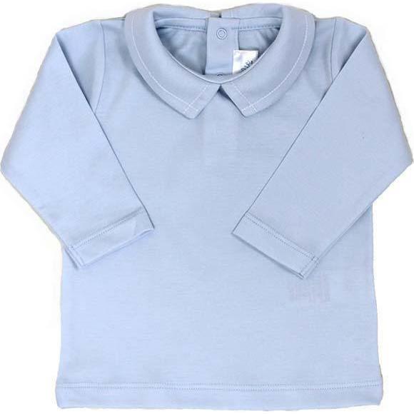 Pointed Collar Long Sleeve Shirt, Light Blue