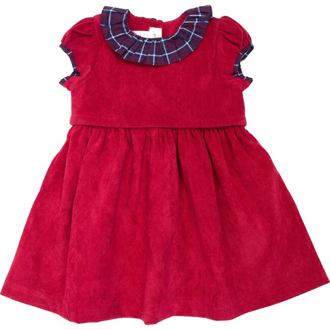 Holiday Plaid Corduroy Dress, Red - Mixed Apparel Set - 1