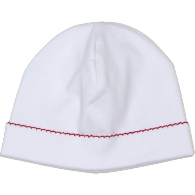 Hat with Red Trim, White - Hats - 1