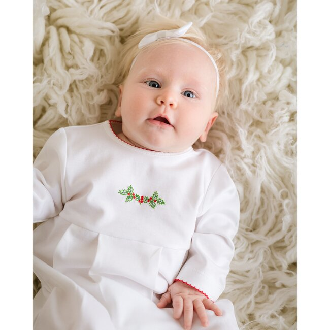 Christmas Joy Gown, White with Red Trim