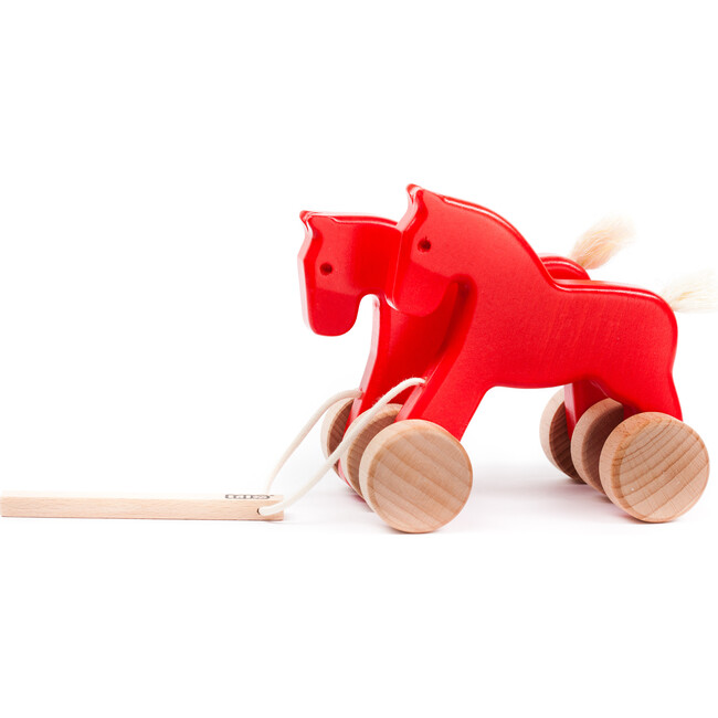 Double Horse Pull Toy, Red