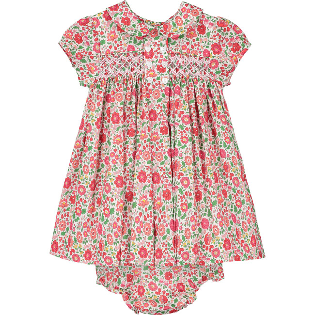Ember Liberty Fabric Baby Dress, Red & Green
