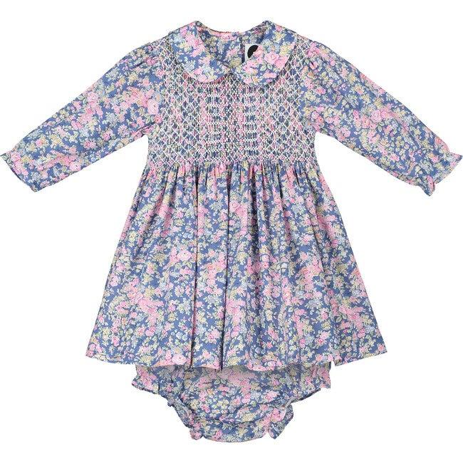 Vera Liberty Fabric Baby Dress, Pink & Navy