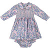 Vera Liberty Fabric Baby Dress, Pink & Navy - Dresses - 1 - thumbnail