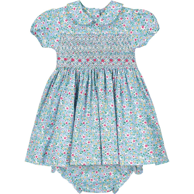 Valerie Smocked Baby Dress, Blue
