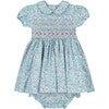 Valerie Smocked Baby Dress, Blue - Dresses - 1 - thumbnail