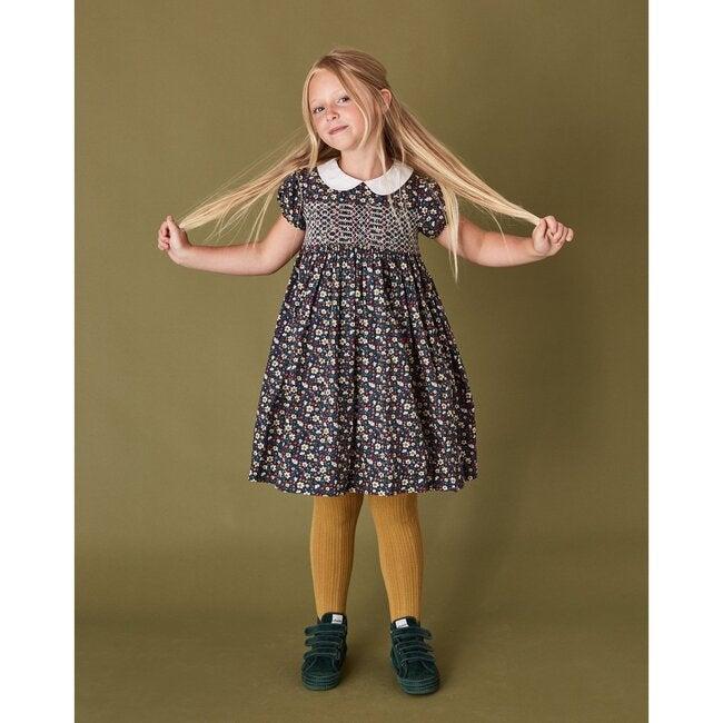 Sara Smocked Dress, Navy