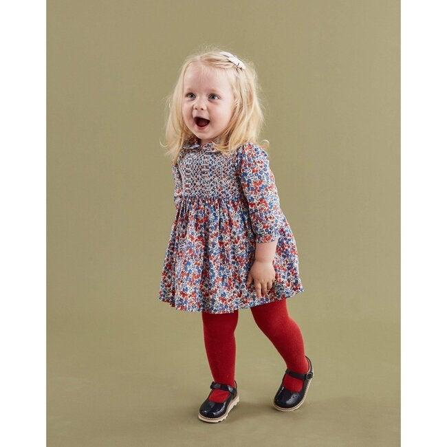 Mya Liberty Fabric Baby Dress, Red & Blue