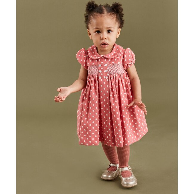 Missy Smocked Baby Dress, Coral