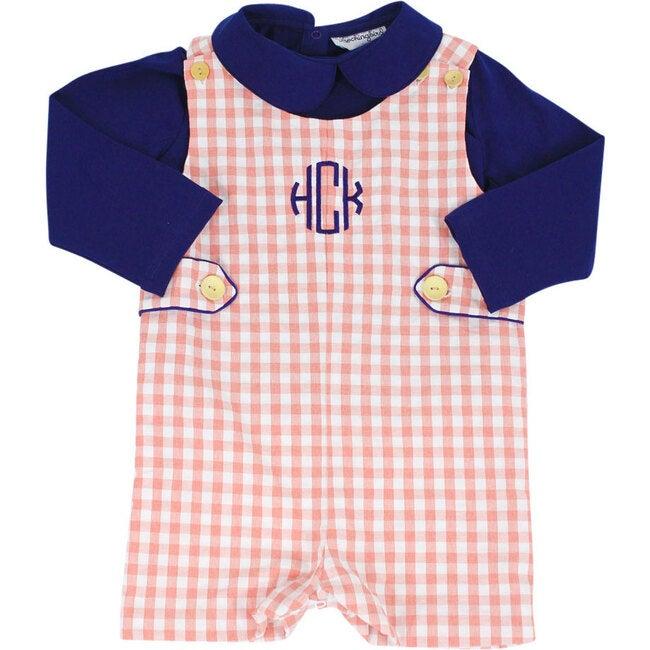 Check Shortall with Navy Knit Shirt, Coral