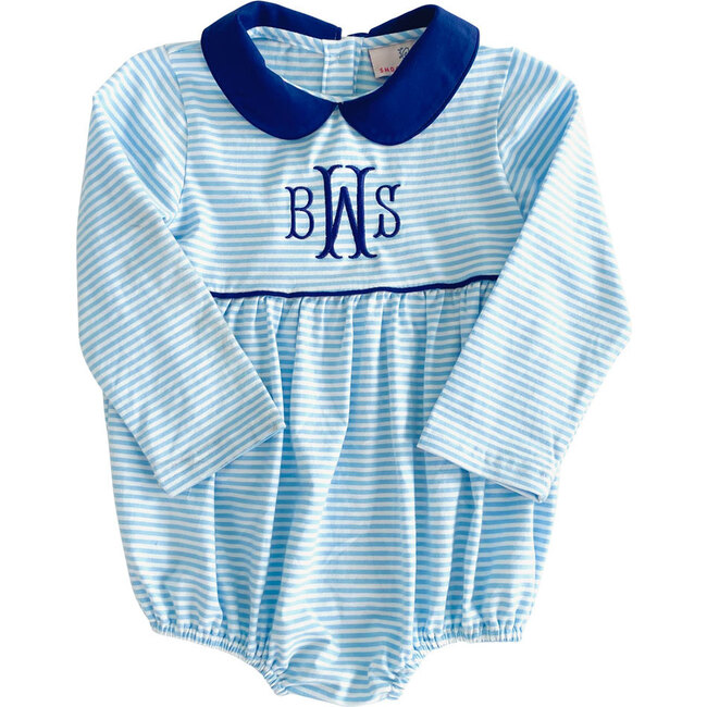 Striped Knit Bubble with Navy Collar, Sky Blue